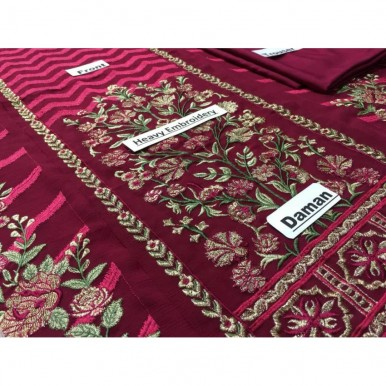 Beautiful Red Embriodered Chiffon dress with net embroidered dopatta - high quality