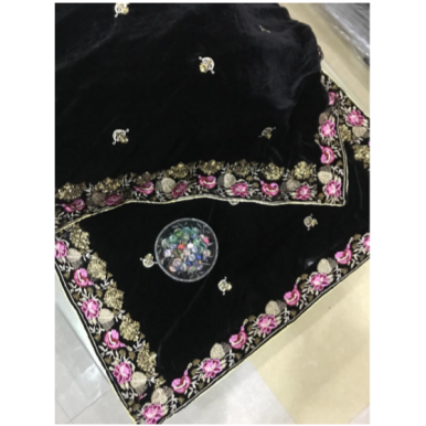Beautiful Embroidered Velvet Shawl For Weddings - Winter Shawls