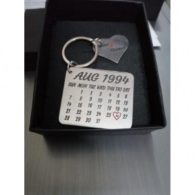 Customized Metallic Heart and Calendar Keychain