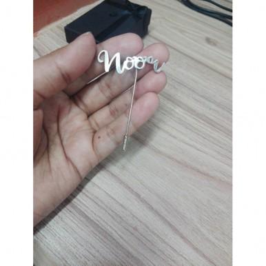 Noor Name Lapel Pin Silver Color