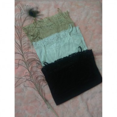 Pack of 3 Imported Vests Ladies Slips (Black White Skin)