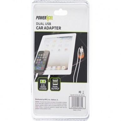 PowerXcel Dual USB Car Adapter 2.1 Purple