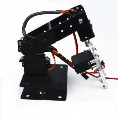 4DOF Mechanical Arm Metal Structure Holder Kits 4 Degrees-of-Freedom Robotic Arm Kit Gripper & 4 Servo Motors Mechanical Arm Clamp Claw Biaxial Servos Manipulator Kits for Arduino Structure holder Sets for Robot teaching platform Student project