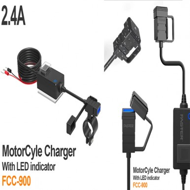 FCC-900 Motorcycle WaterProof Charger With LED Indicator Mobile Charger Bike Travel Charger Motorcycle Power charger