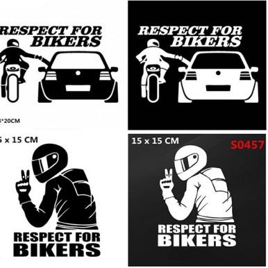 Car Sticker 3D Respect for Cyclists Waterproof Reflective Motorcycle Decal Funny JDM Vinyl for BMW Honda Suzuki Toyota Respect for Biker Random Design