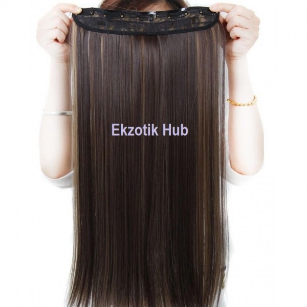 32 Inches Double Highlight Straight Hair Extension - Brown Blonde mix