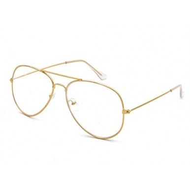 Unisex Aviator Metal Gold Frame With Transparent Glass