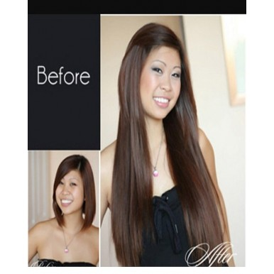 Synthetic Straight Hair Extension - Natural Brown