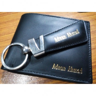 Customize Leather Wallet with Keychain for Men