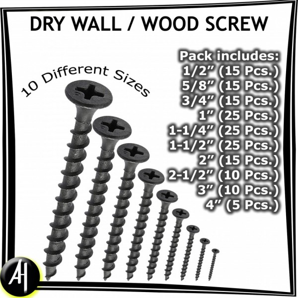Dry Wall  Wood Screw - 1/2 inch - 4 inch - Pack of 10 Different Sizes