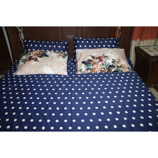 Blue Polka Dots Export Quality Cotton Satin Bed Sheet With 2 Pillows