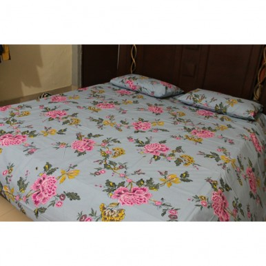 Export Quality Floral Printed Bed Sheet With 2 Pillows