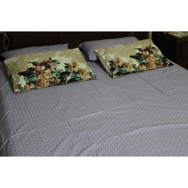 Export Quality Grey Color Bedsheet with Two Pillows