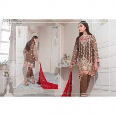 Chiffon Embroidered Dress with Red Embroidered Dopatta