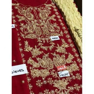 Heavy Embroidered Redish Maroon Dress for Weddings
