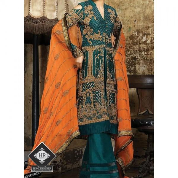 Chiffon Dress with Zari Embroidery Work with heavy dopatta