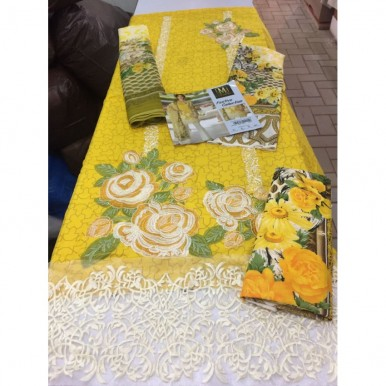 Sparkling Yellow Lawn Embroidered Dress with Chiffon Dopatta