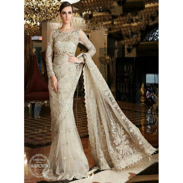 Elegant Beige Color Embroidered Saree for parties and weddings