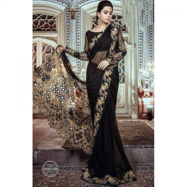 Beautiful cutwork embroidered saree in Black Colour