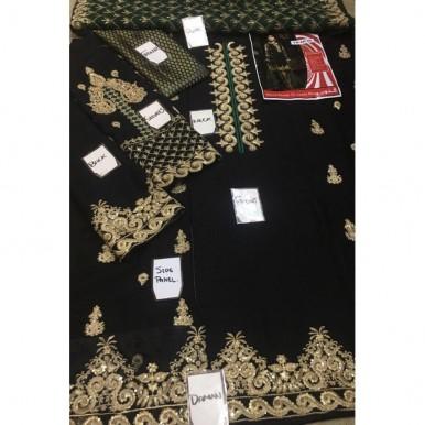 Luxury Chiffon Dress in Black Colour Heavy Zari Work Embroidery