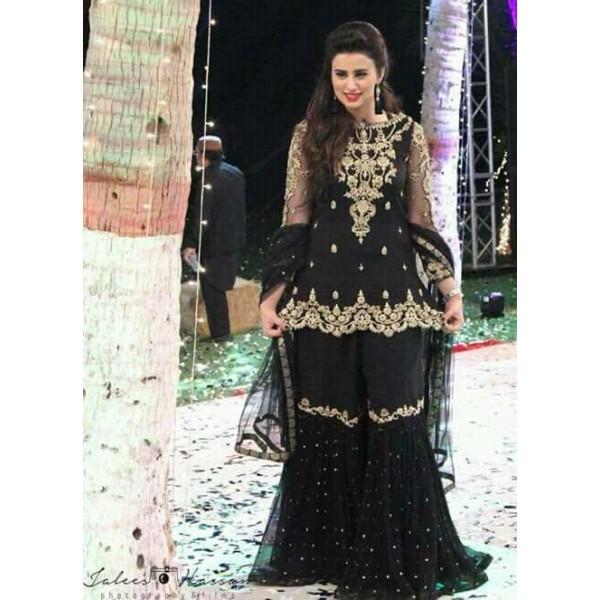 Black Embroidered Net Gharara Dress for Women