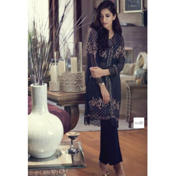 Black Chiffon Embroidered Dress front open style