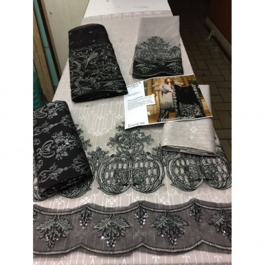 Embroidered Lawn Dress with Net Dopatta (Grey and Black dress)