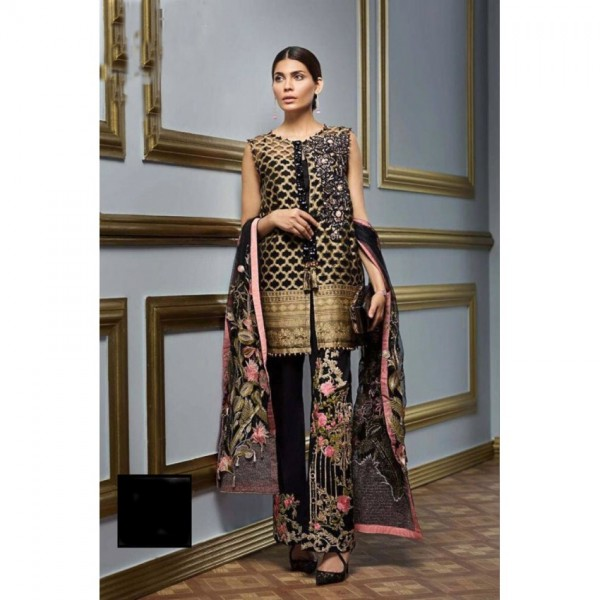 Festive Eid Collection Chiffon Embroidered Dress in Black Colour with Embroidered Trouser and Dopatta