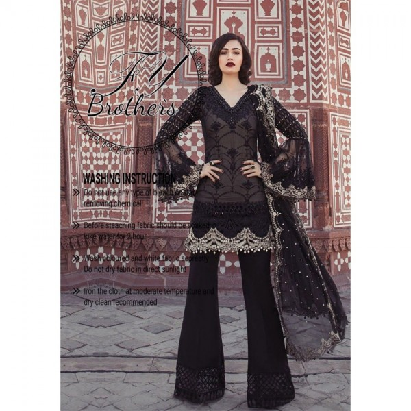 Black Chiffon Sequence Embroidery Dress in High quality