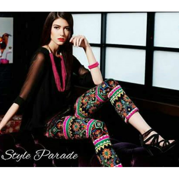 Rangoli Lawn Embroidered Dress with thread work (Black Colour)