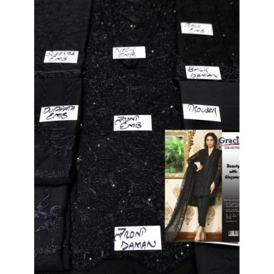 Designer Style Dori Work Embroidered Black Dress for Her