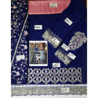 Cutwork Embroidered Dress with Jaal Embroidery Dopatta (Blue Colour)