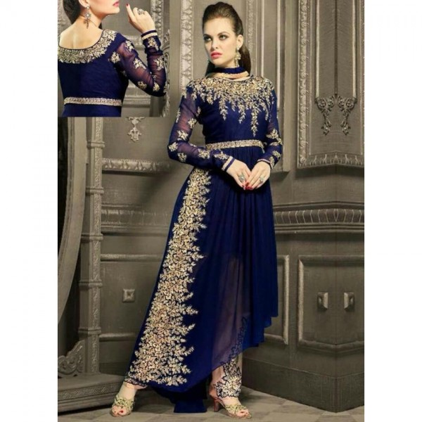 Indian Chiffon Embroidered Maxi in Blue Colour