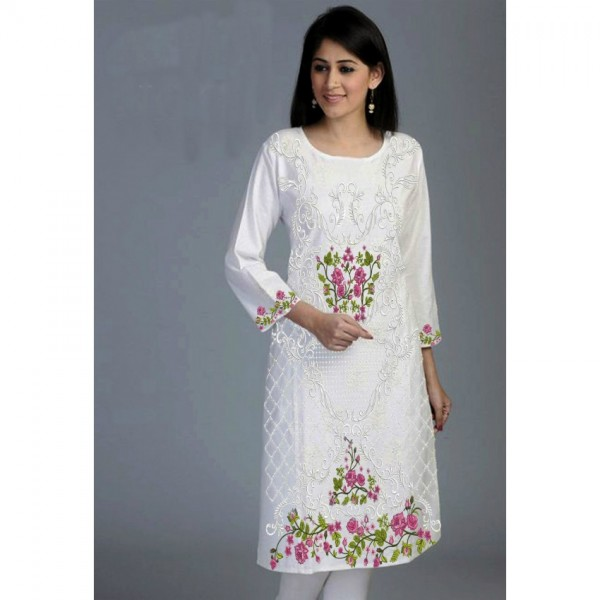 Beautiful Embroidered Chiffon Kurti for Her (available in 2 colours - white and light green)