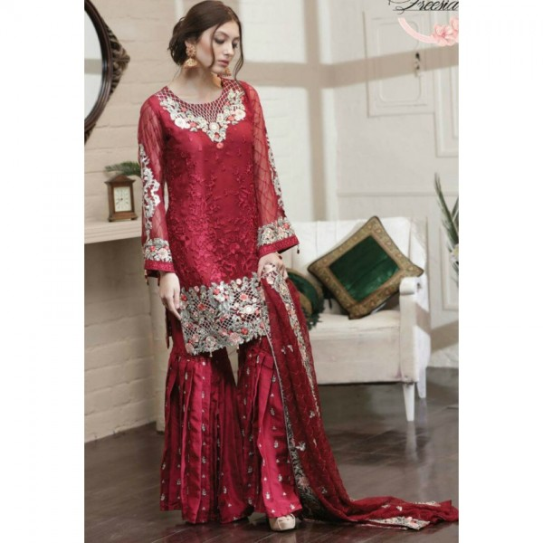 Sharp Red Embroidered Dress with Silk Touser
