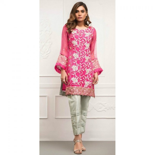 Chiffon Jaal Embroidered Dress in Magenta colour