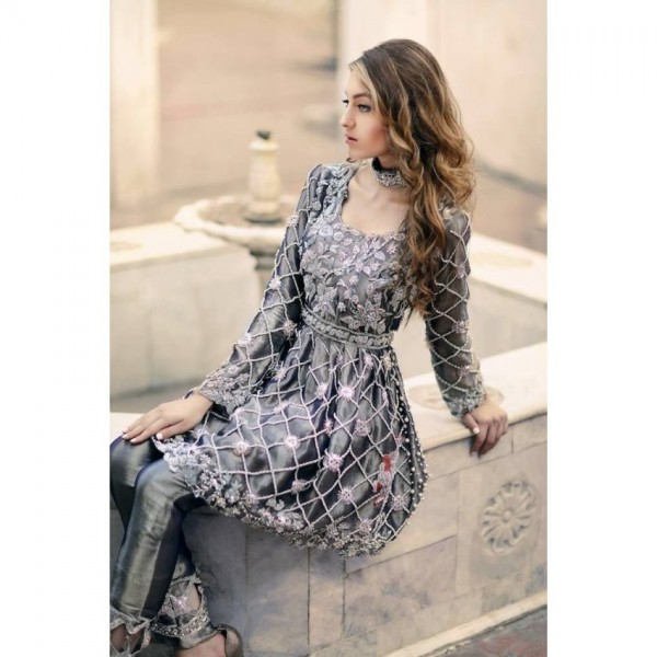 Charcoal Grey Full Embroidered Suit on Net fabric