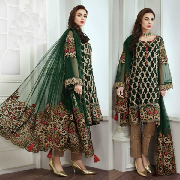 Beautiful Heavy Embroidery Dark Green Dress for Her