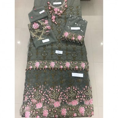 Heavy embroidered Grey Dress with copper and pink embroidery