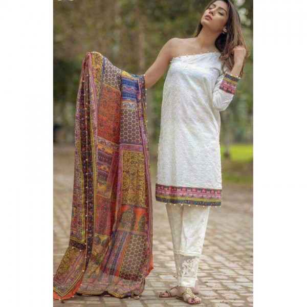 Beautiful Chiffon Jaal Embroidered White Dress with Traditional dopatta