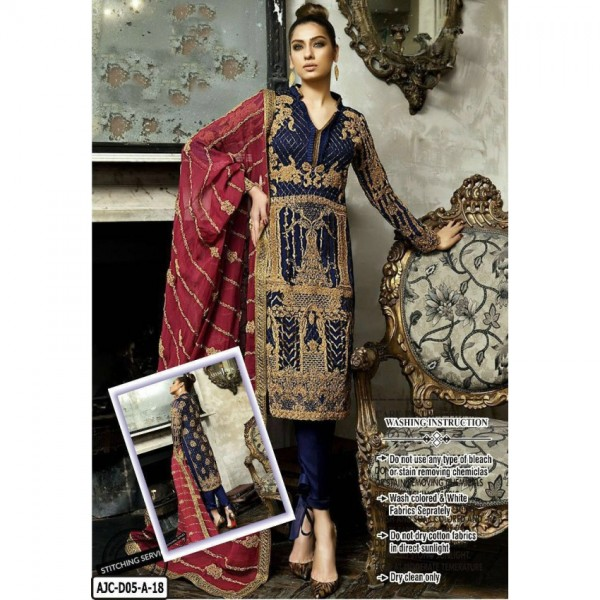 Beautiful heavy embroidered Blue Dress with heavy dopatta (Designer chiffon collection 2018)
