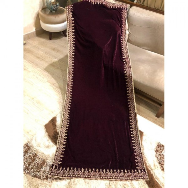 Beautiful Embroidered Velvet Shawl for Ladies