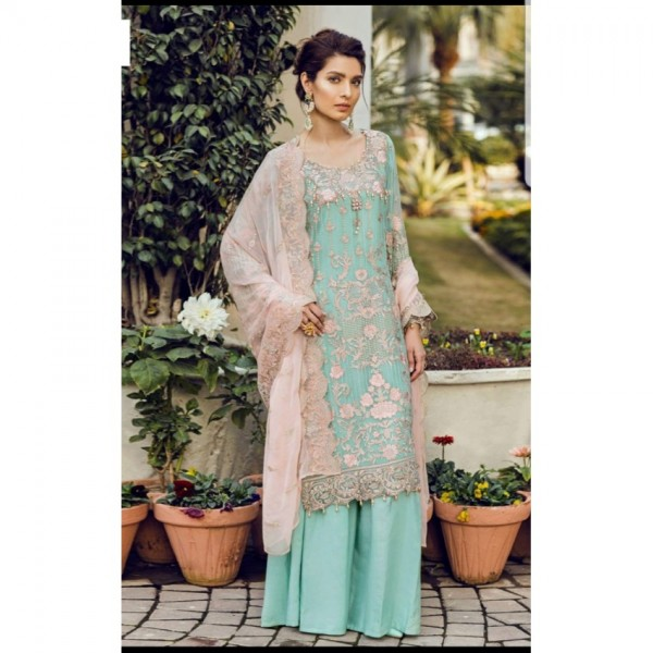 Elegant Chiffon Dress with Golden Embroidery and pink dopatta