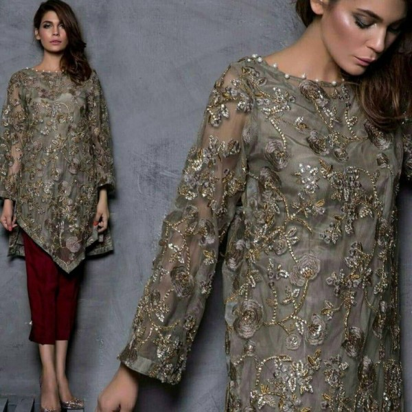 Net embroidered heavy dress in grey colour
