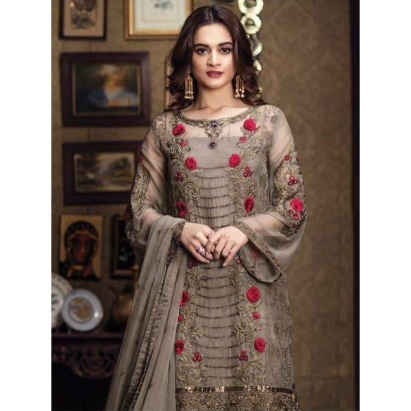 Grey Colour decent embroidered Dress with embroidered chiffon dopatta