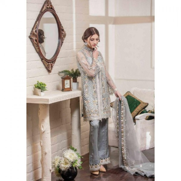 Eid Collection Net Dress with handwork embroidery (Grey Colour)