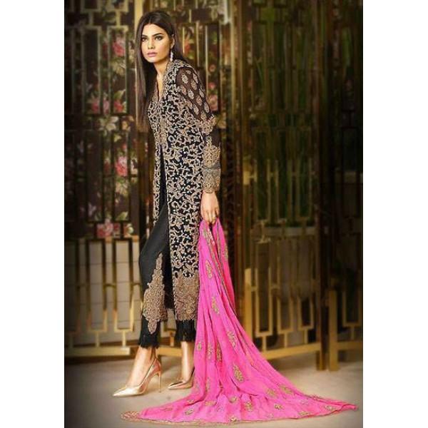 Heavy Dori Work Luxury Chiffon Eid Collection (Black Dress)
