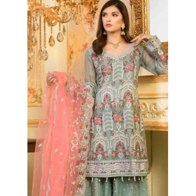 Chiffon Embroidered Dress in Pastel Colors with Net Embroidered Dopatta