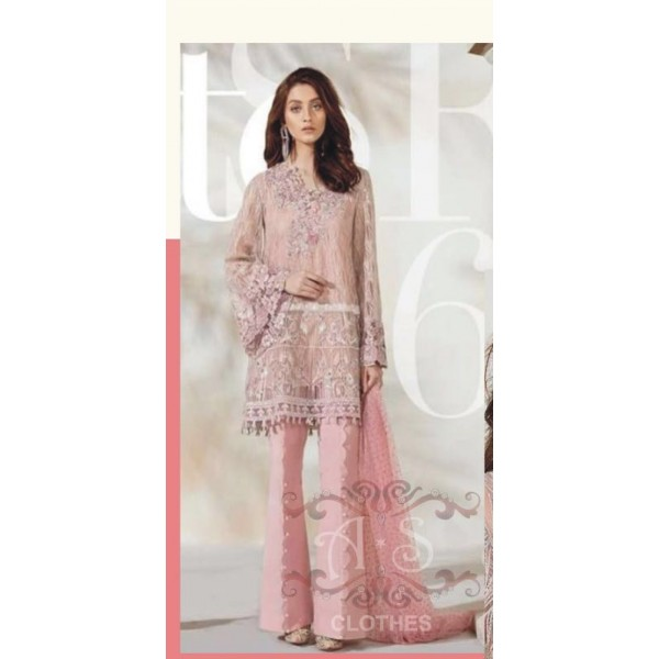 Luxury Collection net embroidered Dress in Peach Colour