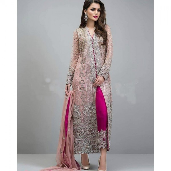 Full heavy dori and sequence embroidery Dres on tissue fabric